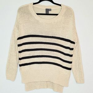 QUINN | Black & Cream Striped Hi Lo Sweater